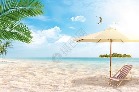大海沙滩度假背景图片