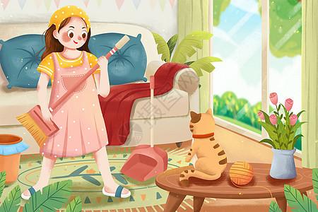 五一劳动节打扫卫生女孩插画图片