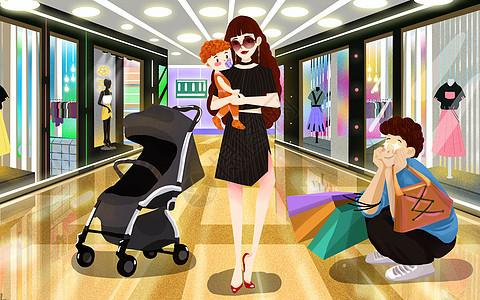 时尚妈妈抱着孩子和爸爸一起逛商场图片