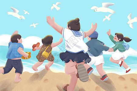 五四青年节在海边奔跑插画图片