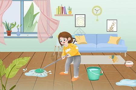 五一收拾家务的女孩图片
