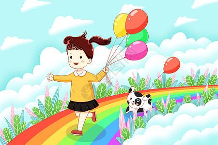 拿着气球在彩虹上奔跑的女孩图片