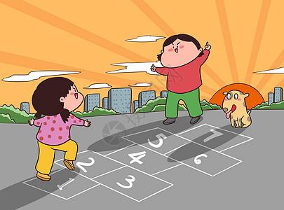 儿童节童年回忆跳格子图片