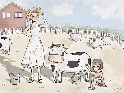 农场生活挤牛奶图片