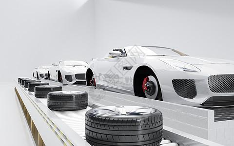汽车轮胎装配场景图片