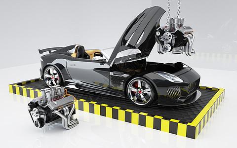 汽车发动机装配场景图片