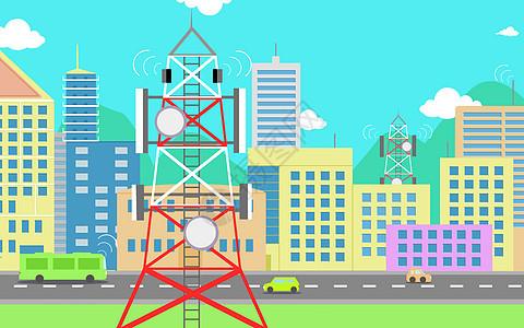网络城市插画图片
