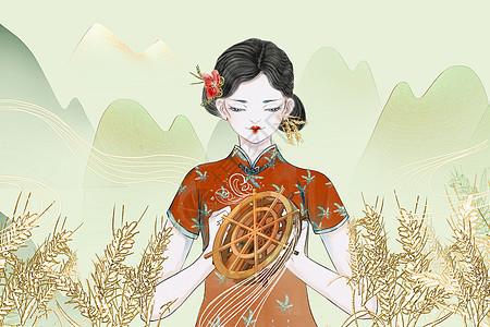 二十四节气拟人中国风民国美女图片