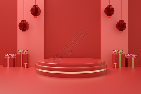 红色天猫淘宝电商展台图片