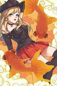 国潮风金鱼与少女图片