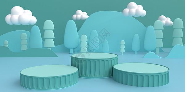 蓝色小清新立体场景图片