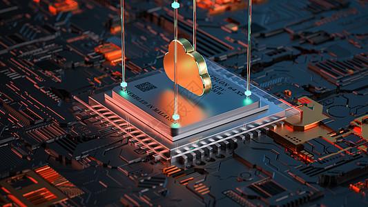 创意科技芯片云场景图片