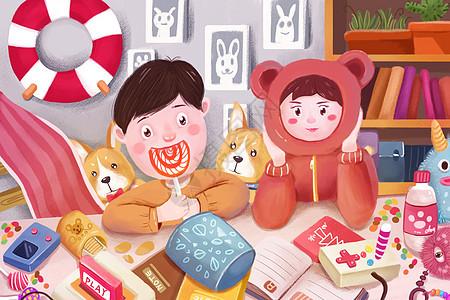 儿童节日孩子男孩女孩室内吃零食玩游戏机吃糖复古怀旧可爱柯基狗图片