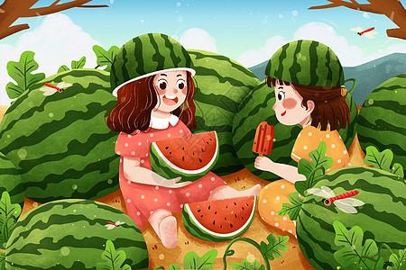 夏至瓜地里吃西瓜女孩插画图片