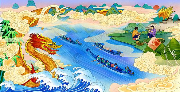端午节龙舟赛粽子图片