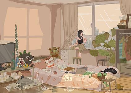 夏天现代都市女孩的房间图片