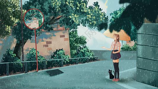 夏季高温暴雨路边躲雨插画图片