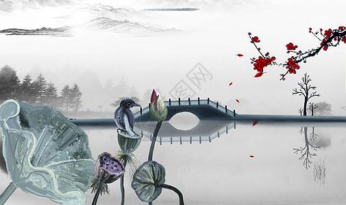 中式荷花背景图片