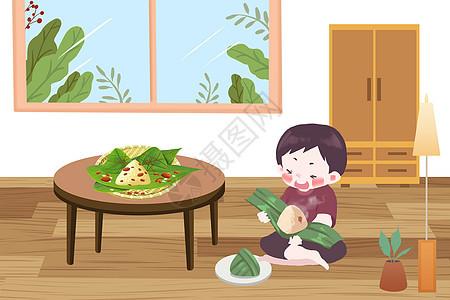 端午节坐着吃粽子的男孩图片