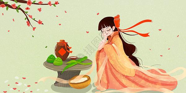 端午节包粽子打瞌睡的女子图片