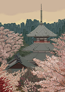 Japan樱花与古塔picture