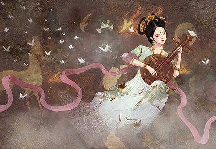 中国风岩彩飞天弹月琴仙女图片