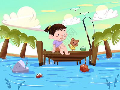 小暑河边戏水的小女孩图片
