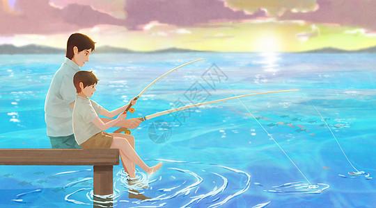 钓鱼的父子图片