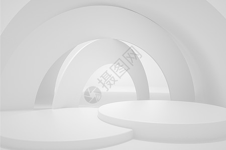白色大气简约柔光展台背景图片