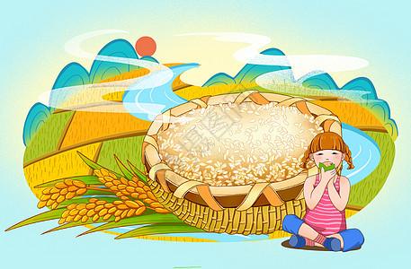 端午田园风光粮食大米图片