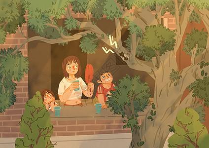 炎炎夏热中树荫与蝉鸣图片