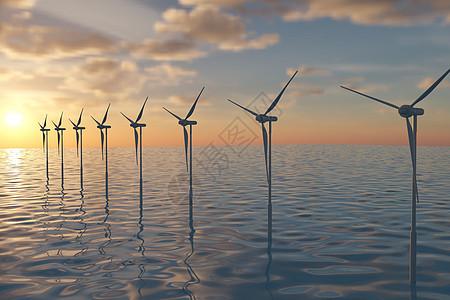 夕阳海上风力发电图片