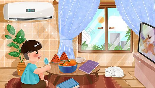 男孩在家中吹空调看电视图片