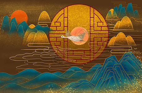 国潮风中式背景图片
