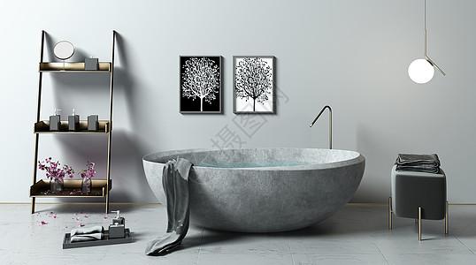 极简风卫浴场景图片