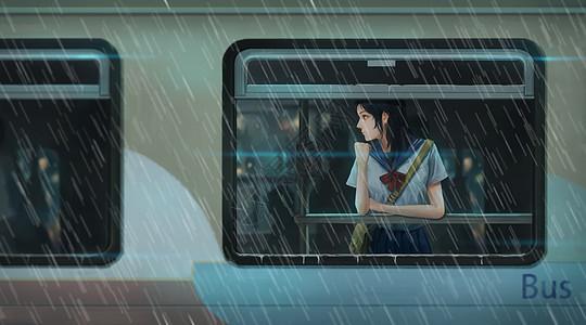 雨天乘公交车的女孩图片