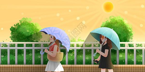 夏天打遮阳伞有效防晒图片