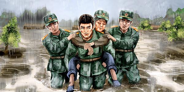 抗洪抢险的军人图片