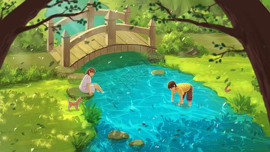 夏日童年小溪边玩水图片
