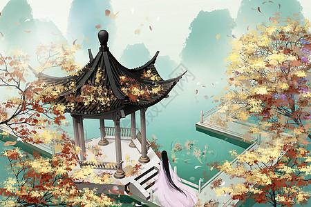 立秋凉亭落叶中国风水墨古风插画图片