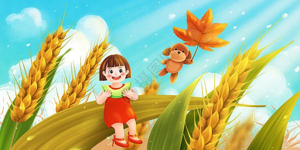 立秋丰收落叶啃瓜咬秋图片