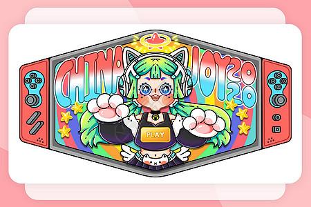 ChinaJoy2020漫展口罩设计插画图片