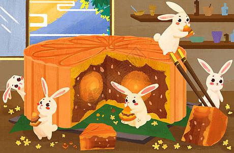 中秋节兔子和月饼picture