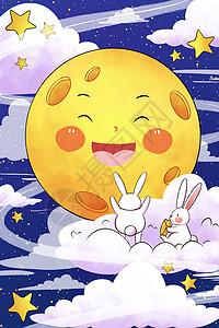 中秋节卡通月亮和玉兔picture