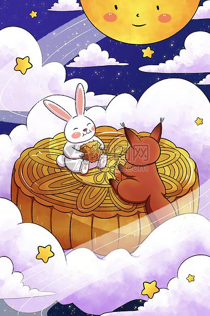 中秋节兔子与松鼠eat月饼picture