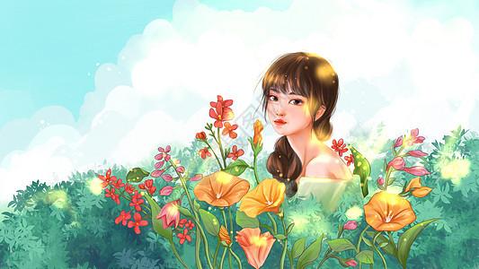 夏天花丛女孩图片