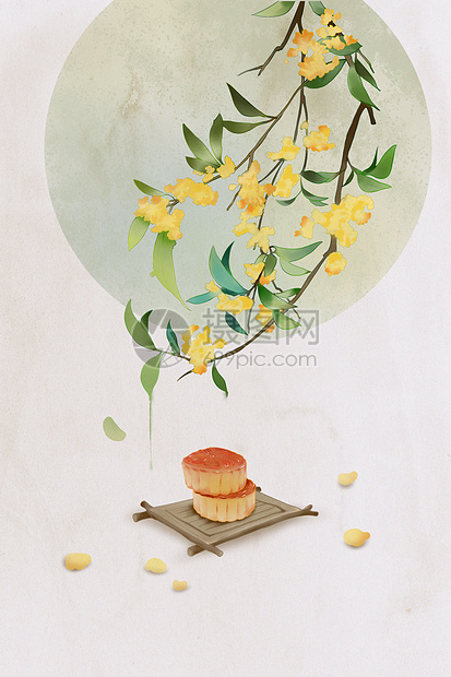 桂花下的月饼海报插画picture