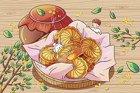 中秋节手绘月饼插画picture