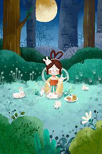 中秋节嫦娥与兔�由驮虏逋紁icture