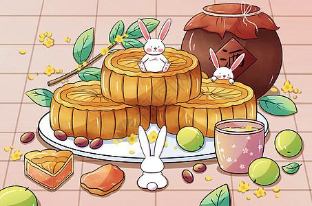 中秋节手绘玉兔与月饼picture